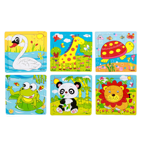 Combo 10 tranh ghép hình 9 miếng chủ đề con vật