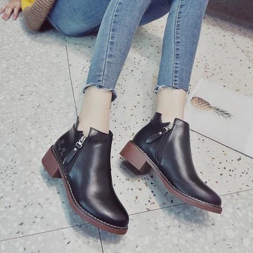 Giày boot nữ phối khóa kéo cực xinh - Hàng Nhập