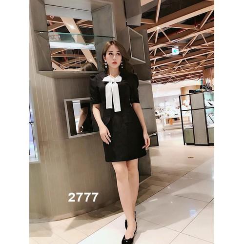 Đầm đen giả vest thắt nơ trắng 2777