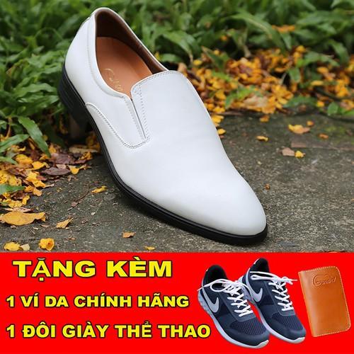 [TẶNG GIÀY THỂ THAO] Giày tây nam trắng không dây lịch lãm