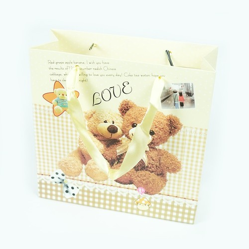Túi đựng hộp socola gấu bear 20x20x8 cm