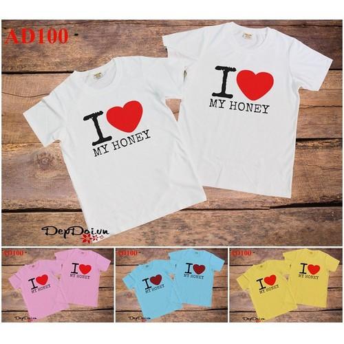 Áo cặp I Love My Honey AD100 - 7 màu