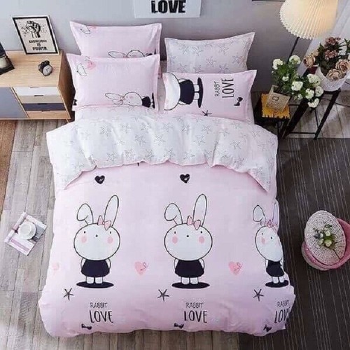 Bộ chăn ga gối cotton poly thỏ hồng váy đen