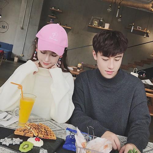 Đồ đôi,Áo khoác,Áo len, chui đầu, cao cổ, phong cách Hàn Quốc
