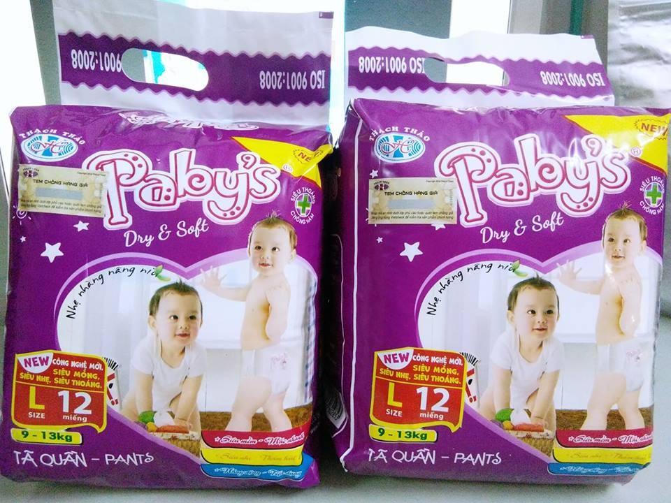 Giảm giá 100 miếng bỉm quần cỡ L hãng Thạch Thảo Pabys cho bé 9-13kg