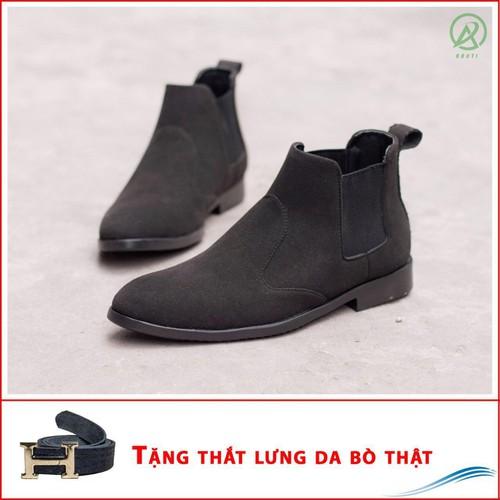 Giày chealsea boot nam cạnh chun đen buck CB520-DENBUCK-TL