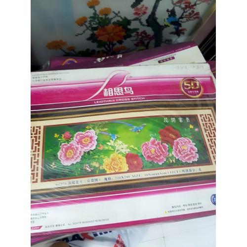 tranh thêu hoa mẫu đơn đẹp tự nhiên 169x63cm thêu 3d
