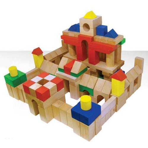 Bộ khối 100 chi tiết màu đồ chơi xếp hình gỗ