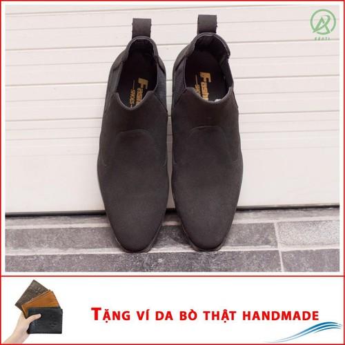 Giày chealsea boot nam cạnh chun đen buck CB520-DENBUCK-V