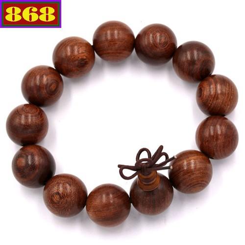 Hạt chuỗi đeo tay gỗ Thủy tùng nâu 18 ly