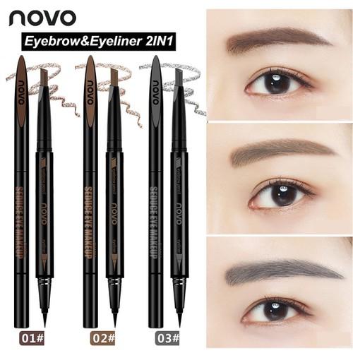 Chì kẻ mày kẻ mắt 2in1 NoVo Makeup Seduce - #01 Màu đen nâu