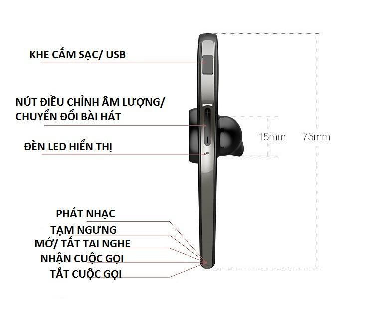 Tai nghe Bluetooth 360 nghe 2 tai PKCB S30 chống nước kèm mic 15