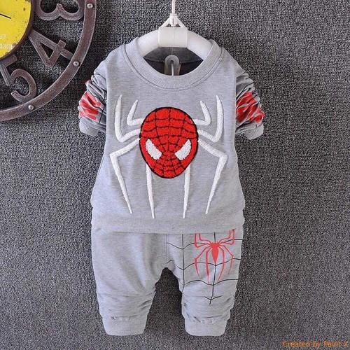 Bộ quần áo mẫu người nhện chất da cá cho bé - Mẫu 33