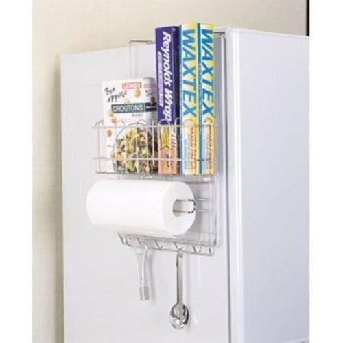 Giá để đồ 3 tầng bằng inox treo hông tủ lạnh