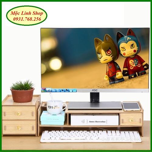 Kệ màn hình gỗ lắp ghép 2 tầng có ngăn tủ phụ - 5925755 , 12440617 , 15_12440617 , 365000 , Ke-man-hinh-go-lap-ghep-2-tang-co-ngan-tu-phu-15_12440617 , sendo.vn , Kệ màn hình gỗ lắp ghép 2 tầng có ngăn tủ phụ