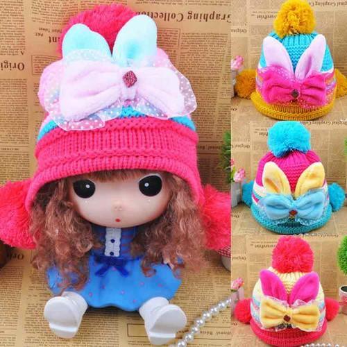 mũ len lót lông bé gái 3 đến 6 tuổi