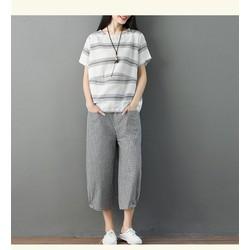 Áo kiểu nữ sọc kẻ đơn giản A6168