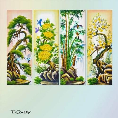 Bộ 4 tranh treo tường Tứ quý: Tùng – cúc – trúc – mai – W288