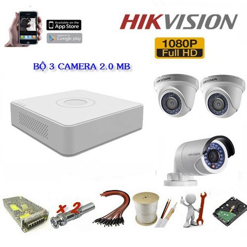 Bộ camera gồm 3 Hikvision 2 Megapixel, đầu ghi 4 kênh, ổ cứng,phụ kiện - 5955356 , 12471417 , 15_12471417 , 4490000 , Bo-camera-gom-3-Hikvision-2-Megapixel-dau-ghi-4-kenh-o-cungphu-kien-15_12471417 , sendo.vn , Bộ camera gồm 3 Hikvision 2 Megapixel, đầu ghi 4 kênh, ổ cứng,phụ kiện
