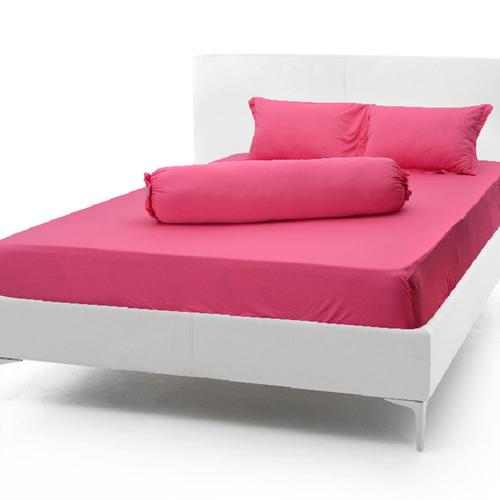 Bộ chăn ga gối thun màu hồng đậm