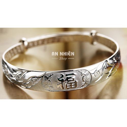 Vòng tay Long Phụng hợp kim bạc chữ Phước