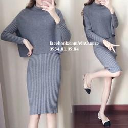 Đầm len ôm form dài phong cách Hàn Quốc
