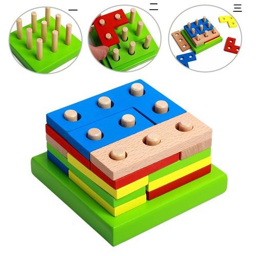 Bộ ghép hình vuông đồ chơi gỗ