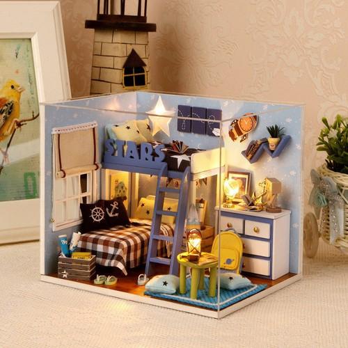 Mô hình nhà DIY Doll House Star Room kèm Đèn LED