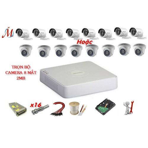 Trọn bộ 8 camera Hikvision 2.0 Megapixel - Sản phẩm chính hãng