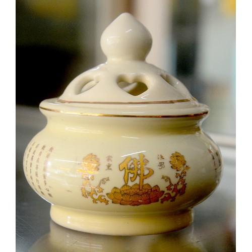 Lư đốt trầm hương sứ tráng men hình hoa sen,chữ Phạn cao 8cm