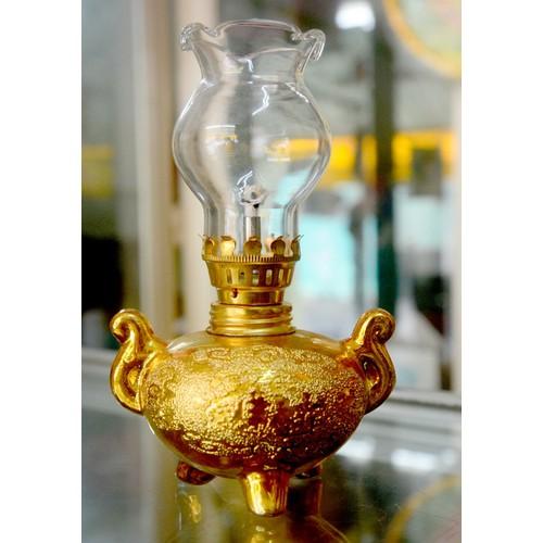 Đèn dầu sứ kim sa vàng cao 16cm