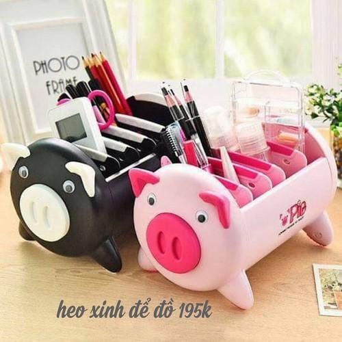 combo sỉ 6 hộp để đồ hình lợn hồng để điều khiển bút đồ trang điểm