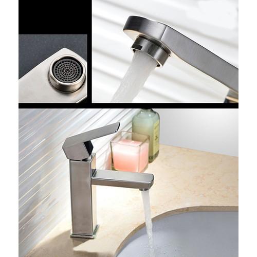 Lavabo nóng lạnh Inox 304 thân vuông - Vòi chậu rửa