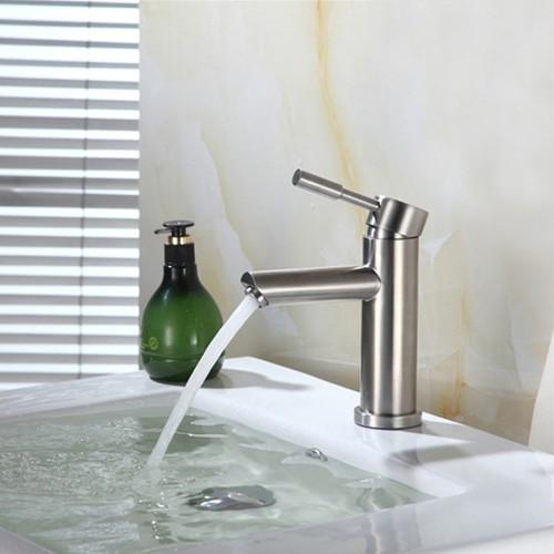 Vòi lavabo nóng lạnh Inox 304 thân trúc - Vòi chậu rửa
