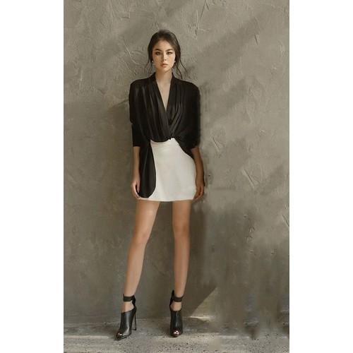 Áo váy kiểu áo tay dài rớt tà váy ngắn