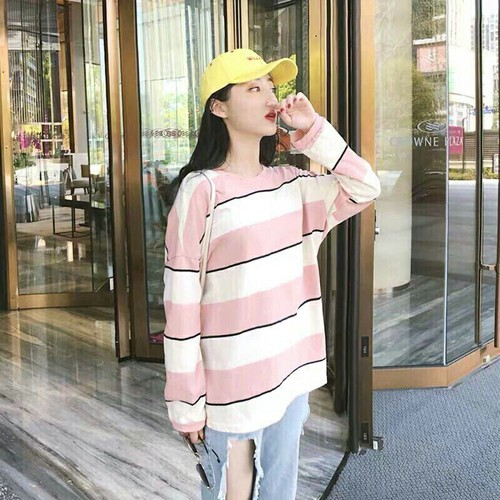 Áo cotton thun sọc hồng