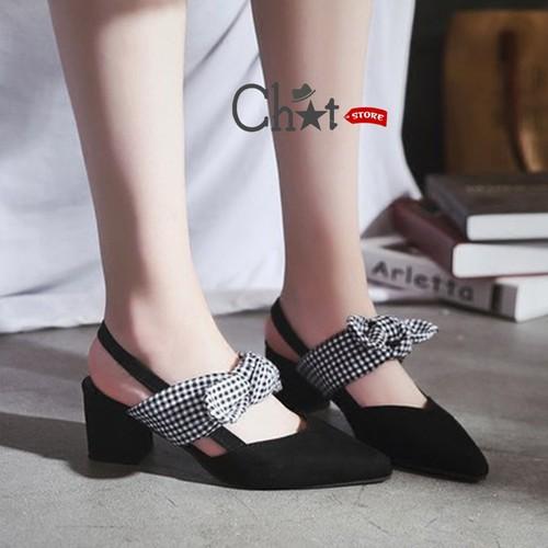 Sandal Cao Gót Nữ Cột Nơ Quai Cài