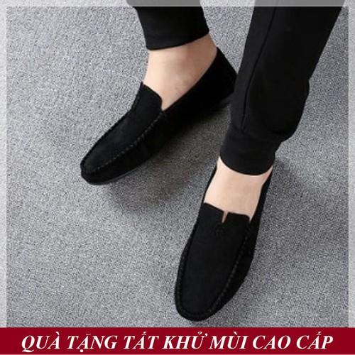 [QUÀ TẶNG TẤT KHỬ MÙI CAO CẤP] Giày Lười Nam Hàn Quốc Da Lộn Màu Đen