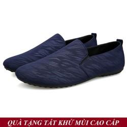 [TẶNG TẤT KHỬ MÙI CAO CẤP] Giày Lười Vải Nam Hàn Quốc Màu Xanh Đẹp