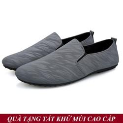 [TẶNG TẤT KHỬ MÙI CAO CẤP] Giày Lười Vải Nam Hàn Quốc Màu Xám Đẹp