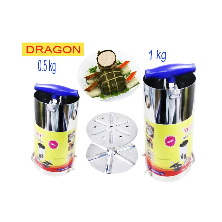 Bộ 2 khuôn làm giò chả inox 1kg và 500gram Dragon