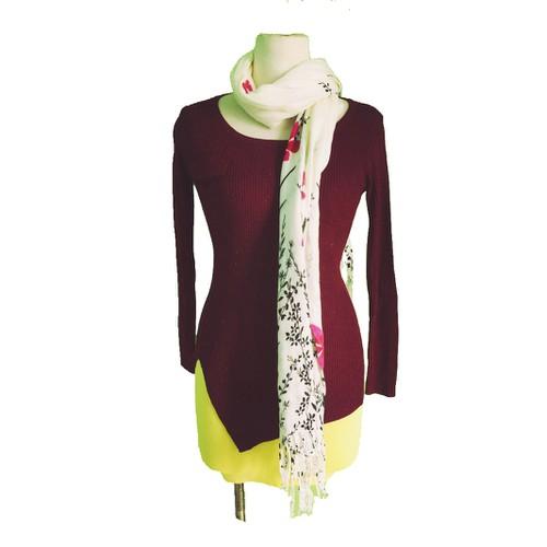Áo len thun tay dài vạt kiểu dính kim tuyến