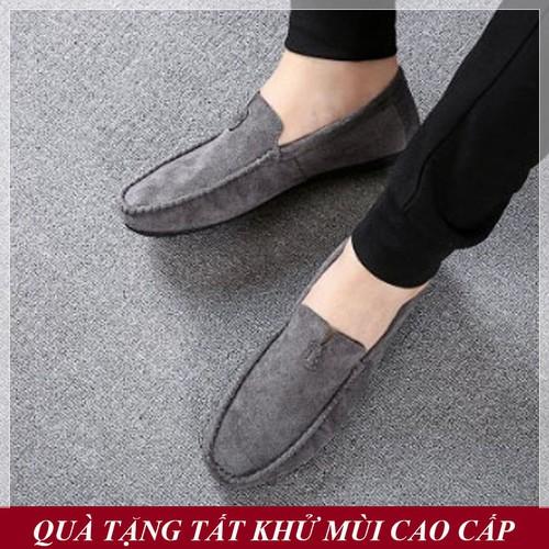 [QUÀ TẶNG TẤT KHỬ MÙI CAO CẤP] Giày Lười Nam Hàn Quốc Da Lộn Màu Xám