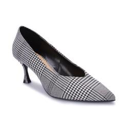 S30039 - Giày Cao Gót Bít Mũi Vằn Đen - Đen