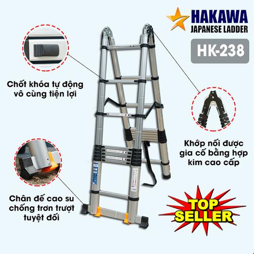 Thang nhôm rút đôi chữ A Hakawa HK238