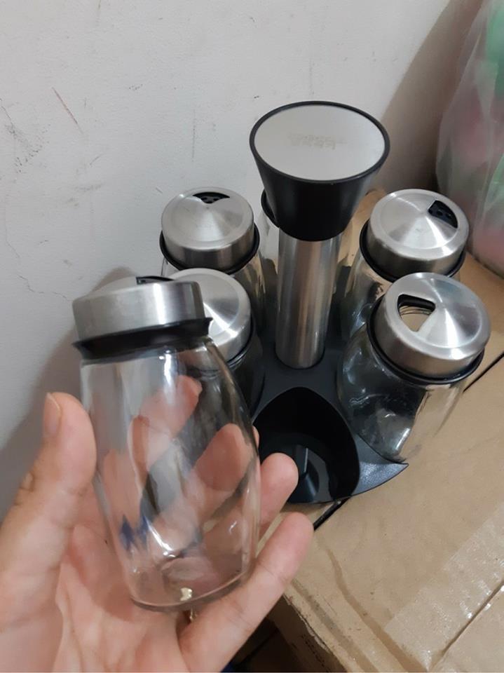 Bộ 6 lọ đựng gia vị thủy tinh kèm giá để xoay 360 độ Spice Ack Set 7