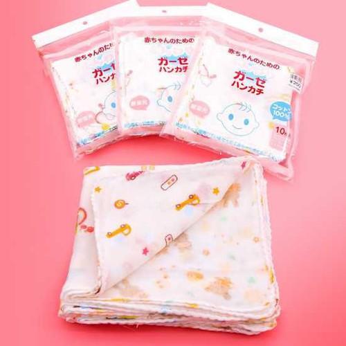 Set 10 Khăn Xô Sữa Nhật Hoa Văn, khăn sữa cho bé