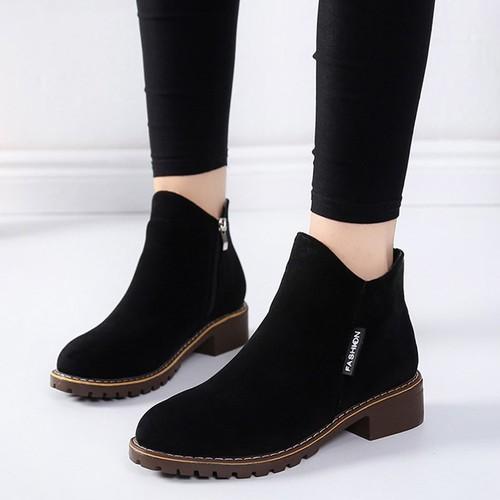 Giày Bốt Nữ Cổ Ngắn 3Fashion Shop Khóa Kéo Da Mềm Êm Chân - 3099