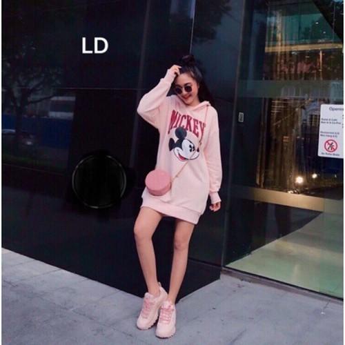 Áo Váy Nỉ Mickey Hồng Phong Cách Ulzzang