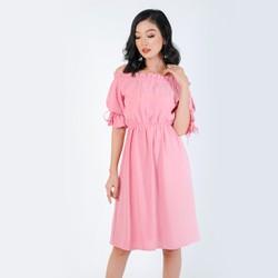 Đầm Xòe Thời Trang Eden Trễ Vai Tay Nơ - D319
